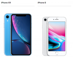 iPhone XRとiPhone 8画面大きさ・重さ