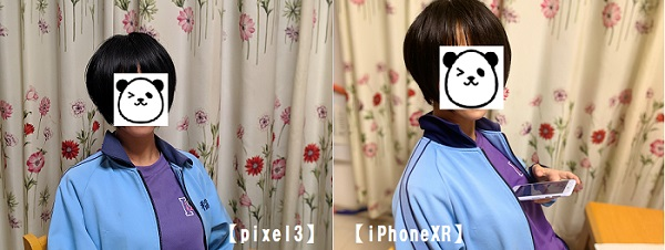 pixel3 iPhoneXR ポートレート機能 ボケ感 比較