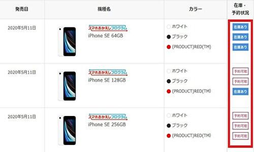 ドコモ iPhone SE 入荷状況 入荷待ち 在庫
