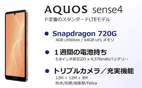 AQUOS sense4特徴