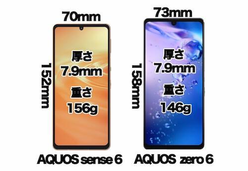 AQUOS sense 6とAQUOS zero 6のサイズ